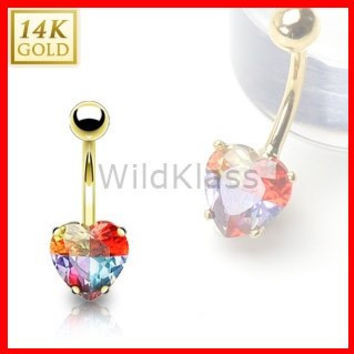 14k Solid Gold Ring 14g Belly Button Ring Heart Tear Drop Multi Colored Prong Set Miracle Gem 14k Yellow Gold 14g Navel Ring Navel Jewelry