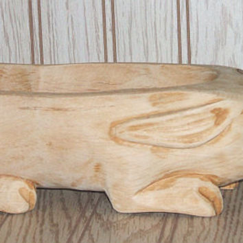 HandCarved Wooden Rabbit Bowl Natural Rustic Decor Wood Carving Trinket Dish Vintage Carved Collectible Bunny Woodenware Container