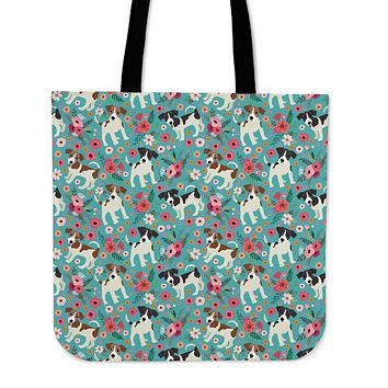 Jack Russell Flower Linen Tote Bag - Promo