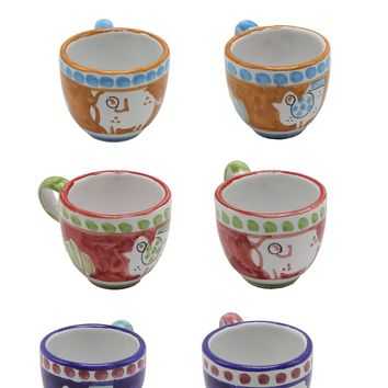 Vietri Chicks & Pigs Six Espresso Cup Set