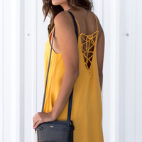 Iza Open Back Dress - Mustard