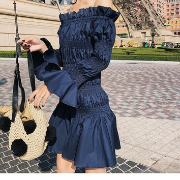 Off Shoulder Bell Sleeve Dress