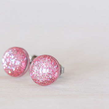 Pastel Pink Sparkle Post Earrings