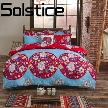 Solstice Home Textile Skinny fashion real breathable ethnic style bedding linens Quilt cover pillowcase Full /Queen/King  3/4pcs