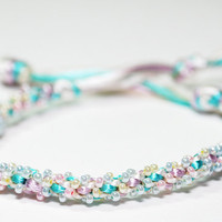 Beaded Kumihimo Bracelet in Baby Pastel Colours by epicstitching
