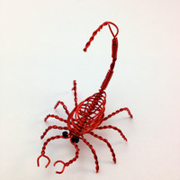 "Miniature Decorative Scorpion Wire Sculpture - Red - Approx 2"" x 1.5"" x 1.5"""