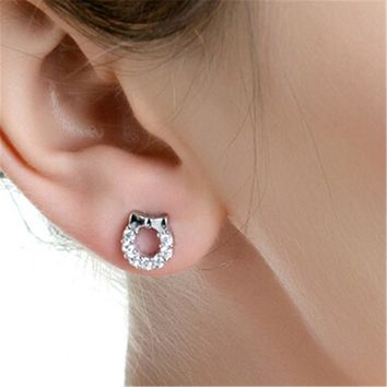 Fashion Bow 925 Silver Crystal Tiny Studs Earrings +Gift Box