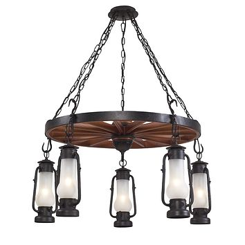 5-Light Chandelier in Matte Black