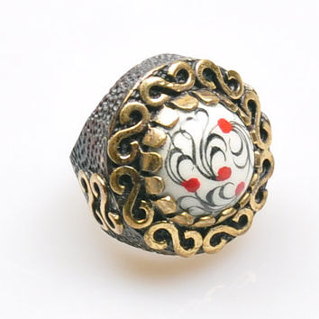Authentic Ottoman Style Tile Motif Ring, Turkish Jewelry, Jewelry Findings, Boho Ring, Gypsy Style