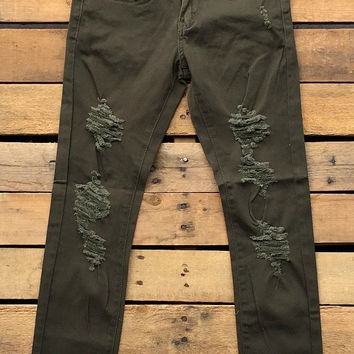 Distressed Cuffed Olive Skinnies