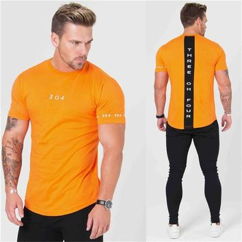 2018 Summer bodybuilding Men's T Shirt gyms Patchwork Short Sleeve T Shirt Mens Clothing Sports Cotton Running T Shirt men shirt