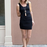 Jersey Ruched Dress with Bubble Hem - Glam - Black - $65.00 | Hand In Pocket Boutique