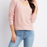 Cut-Out Grommet-Trim Pullover Sweater | Charlotte Russe