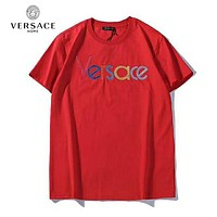 VERSACE New Popular Women Men Colorful Embroidery Round Collar T-Shirt Top Tee Blouse Red