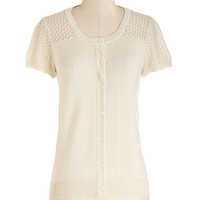 ModCloth Vintage Inspired Mid-length Short Sleeves Leave Knit to Me Cardigan in Ivory