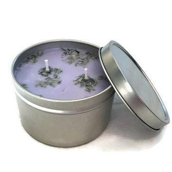 Lavender Soy Candles - 8 oz tin - Lavender Candle - Organic Candles - Aromatherapy Candles - Fresh Scent Candle - Rest and Relaxation Candle