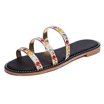 Women Slide Sandals Glitter Flat Thong Sandals Fashion Beach Flat Slippers Shoes Sliver Gold