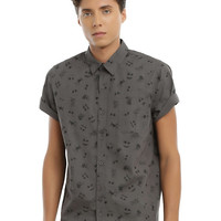 The Nightmare Before Christmas Jack Face Woven Button-Up