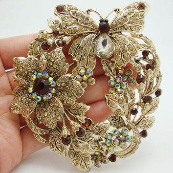 Vintage Style Butterfly Flower Brooch Pin Pendant Brown Austrian Crystal Rhinestone