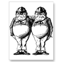 Tweedle Dee and Tweedle Dum Post Card from Zazzle.com