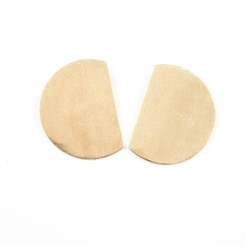 Brass Solid Cut Circle Large Post Earrings