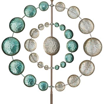 Teal and Silver Orbiting Metal Kinetic Garden Stake Wind Spinner
