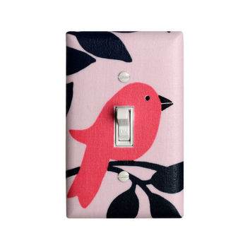 Bird Light Switch Plate Cover / Baby Girl Nursery Decor / Tweetie Pie Michael Miller Pink Gray / Girls Room
