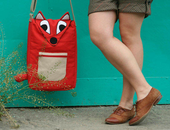Red Fox laptop case / messenger bag- organic canvas-Made to order
