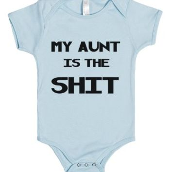 my aunt is the shit-Unisex Light Blue Baby Onesuit 00