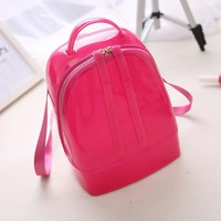 Hot Sale Summer Style new jelly candy color crystal medium bag bag ladies bag backpack Silicon Gel Women Bags