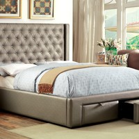 Chavira Contemporary Leatherette Footboard Storage Cal. King Platform Bed