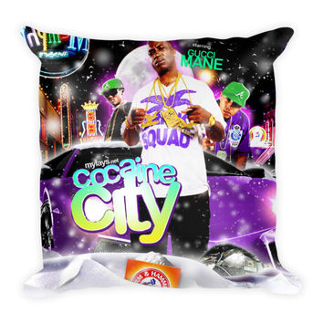 Cocaine City (16x16) All Over Print/Dye Sublimation Gucci Mane Couch Throw Pillow Insert & Pillow Case/Cover
