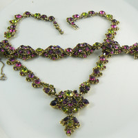 Hollycraft Purple and Green Rhinestone Necklace and Bracelet Set