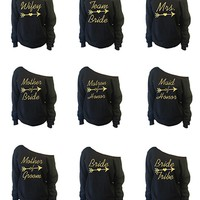 Bridal Party Off-The-Shoulder Wide Neck Slouchy Sweatshirt