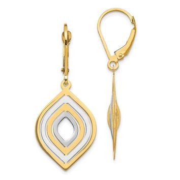 14k Two Tone Gold Polished Leverback Earrings