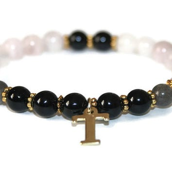 Rose Quartz Bracelet, Onyx Beads, Labradorite Stones, Initial Charm, Healing Jewelry, Beaded, Stacking, Stackable Bracelet, Spiritual Gifts