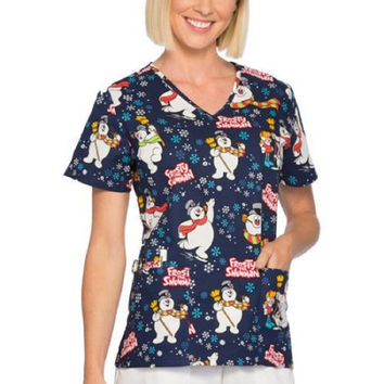Frosty the Snowman Women's Holiday V-Neck Scrub Top, Large, Navy, SLL46700TA
