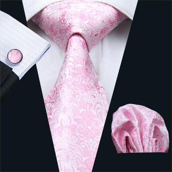 Mens Ties Pink Novelty Silk Jacquard Neck Tie Hanky Cufflinks Set Ties For Men Business Wedding Party