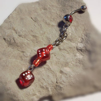Red Dice with Silver Chain Belly  RIng