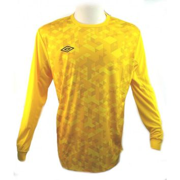 Umbro Mens Yellow Shirts & Tops Long Sleeve Soccer Football Goalkeeper Jersey L