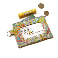 ID card wallet key chain. Zippered small women wallet. Clear ID pocket pouch. Retro style paisley fabric.