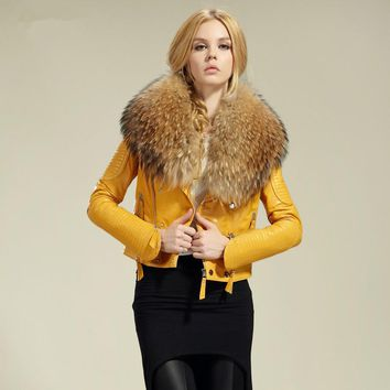 Free shipping genuine women sheep leather jacket 100% real sheep leather jacket with raccoon fur collar