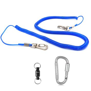 Lixada 3 in 1 Aluminum Alloy D-ring Locking Carabiner + 5m Coile Rod Protector Elastic Rope Line + Net Connector Outdoor Tool