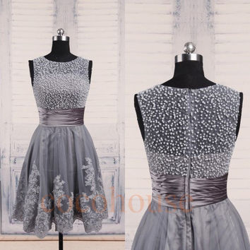 Gray Beaded Short Lace Applique Prom Dresses 2015, Fashion Evening Gowns, Party Dresses, Homecoming Dresses, Bridesmaid Dresses ,Lace Dress