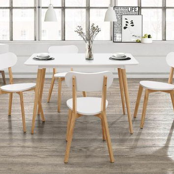 Home Elegance 5515WT 5 pc Orpheus natural pine and white finish wood mid century modern style dining table set