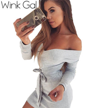 Wink Gal Fashion Sweater Dress V Neck Off Shoulder Bodycon Dress Knitted Dress vestidos W10459