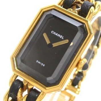 Auth CHANEL Premiere H0001 Black Gold Women's Wrist Watch #L