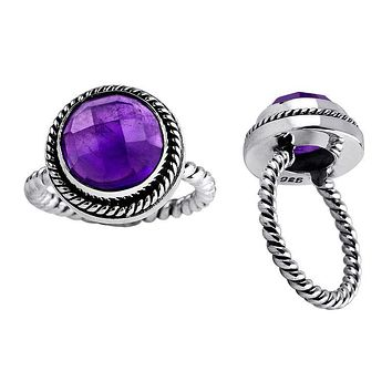 "AR-6019-AM-6"" Sterling Silver Ring With Amethyst"