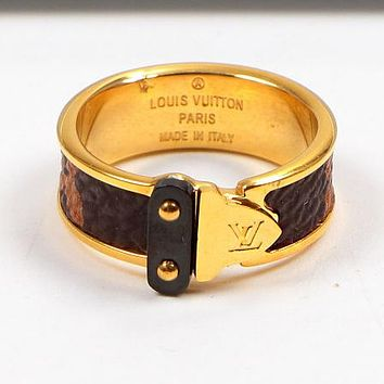 "Hot Sale ""Louis Vuitton"" LV Fashion Women Personality Leather Stainless Steel Ring Jewelry Golden I-HLYS-SP"