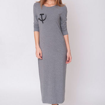 New Grey Dress -  Hammer and Sickle Print Gray Indie Jersey Stretchy Slouchy Hipster Long Sleeved Sporty Grunge Long Gown Size S M L